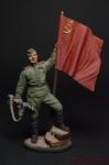 Гв. ефрейтор пехоты Кр. Армии с советским флагом. 1943-45 гг. - Оловянный солдатик коллекционная роспись 54 мм. Все оловянные солдатики расписываются художником вручную