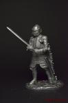 Рыцарь, 1440 год. (с закрытым забралом) - Не крашенный оловянный солдатик. Высота 54 мм