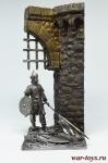 Мусульманский воин - Оловянный солдатик. Чернение. Высота солдатика 54 мм. Фрагмент стены из смолы