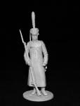 Русский гренадер в шинели, 1812-14 - Оловянный солдатик, белый металл (набор для сборки из 12 деталей). Размер 54 мм (1:30)