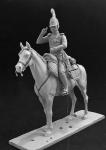 Обер-офицер Лейб-Гвардии Драгунского полка, Россия 1812-14 - Оловянный солдатик, белый металл (набор для сборки из 18 деталей). Размер 54 мм (1:30)