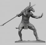 Египетский бог Сет - Оловянный солдатик, белый металл (набор для сборки из 9 деталей). Размер 54 мм (1:30)