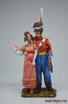 Офицер лейб гвардии казачьего полка с попутчицей - Оловянный солдатик коллекционная роспись 54 мм. Все оловянные солдатики расписываются художником вручную