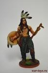 Индеец со щитом и тамагавком - Оловянный солдатик коллекционная роспись 54 мм. Все оловянные солдатики расписываются художником вручную
