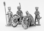 Расчет гаубицы, гаубица, Наполеон - Не крашенный оловянный солдатик. Высота 54 мм
