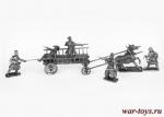 Композиция с телегой и нападающими партизанами, 1812 год - Композиция из 7 миниатюр 54 мм