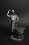 Казак с барабаном - Не крашенный оловянный солдатик. Высота 54 мм
