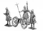 Пушка и Артиллеристы новоприборных полков 1700 год - Набор оловянных солдатиков 4 шт. 54 мм