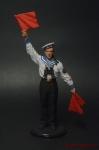 Краснофлотец-сигнальщик, ВМФ 1941-45 гг. СССР - Оловянный солдатик коллекционная роспись 54 мм. Все оловянные солдатики расписываются художником вручную