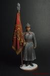 Старший сержант РККА со знаменем. 1941 г. СССР - Оловянный солдатик коллекционная роспись 54 мм. Все оловянные солдатики расписываются художником вручную