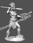 Миры Фэнтези: Зулусская женщина-воин - Оловянный солдатик, белый металл (набор для сборки). Размер 54 мм (1:30)