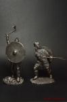 Набор из 2 фигур Викинги - Оловянный солдатик. Чернение. Высота солдатика 54 мм