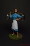 Девушка с ведрами - Оловянный солдатик коллекционная роспись 54 мм. Все оловянные солдатики расписываются художником вручную