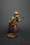 Ковбой с двумя пистолетами - Оловянный солдатик коллекционная роспись 54 мм. Все оловянные солдатики расписываются художником вручную