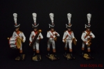 Набор оловянных солдатиков Оркестр линейной пехоты Франция 1812 - Набор оловянных солдатиков 5 шт. Высота солдатиков 54 мм.