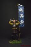 Асигару с флагом, 1600 год - Оловянный солдатик коллекционная роспись 54 мм. Все оловянные солдатики расписываются художником вручную